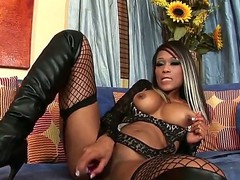 Black hottie Scarlett Dior is deep fucking her muff with a magic dildo