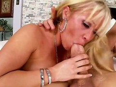 Arousing cock loving blonde milf Austin Taylor with large jaw dropping round ass and whorish heavy make up seduces tattoos stud and rides on his cock like there is no tomorrow.