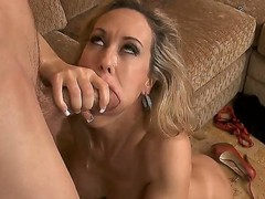 Plump and tight chick Brandi Love got fucked up by Jordan Ash in doggy pose and then got on top of him to ride his dick with her cunt.