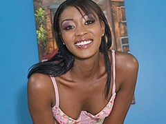 From head to toe, this ebony hottie has it all. Rayne widens her long, dark legs for the camera, showing off her shaved pink snatch as that babe rubs her clit until it's swollen while massaging her tits. After fingering her slit and getting her juices flowing, she's greeted by a big white dick that barely fits inside her mouth and down her throat. She sucks it until it's completely stiff, and licks his balls previous to riding it with her sexy ass bouncing for the camera. Her slit gets slammed as her boobs bounce for him, taking a pounding as that babe cums over and over again, previous to he fills her slit up with his hot jizz.