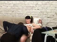 A hot curvy dark brown student with sexy yellow socks licks and bonks her teacher like a minx.