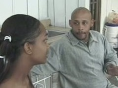 Ebony cutie sucks a fat diabolical cock near an increment of gets banged near an increment of facialed