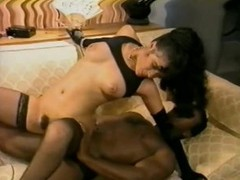 Sexy Ebony Babe Sucks and Bonks a Large Menacing 10-Pounder - Vintage Porn Scene