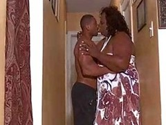BBW shemale seduces a muscled stud