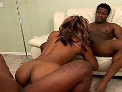 Hot busty ebony fucked by 2 black cocks