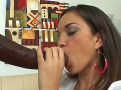 Brunette latin has fire in her eyes as this babe gets her mouth fucked by her bang buddy